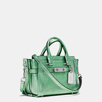 COACH SWAGGER 20 CARRYALL IN METALLIC TIPPED PEBBLE LEATHER