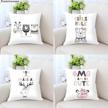 Nordic Style Kids Decoration Cute Cat Cushion Bear Deer Whale Rabbit Princess Unicorn Horse Print Plush Pillow For Office Chair