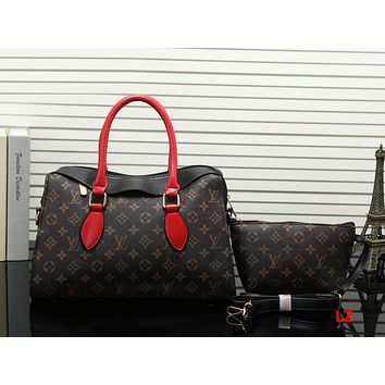 Louis Vuitton Women Fashion Leather Handbag Bag Crossbody Cosmetic Bag Two Piece Set