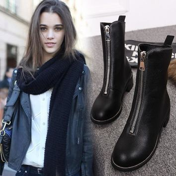 Hot Deal On Sale Winter England Style Zippers With Heel Dr. Martens Boots [11882770767]