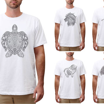 Men Animals drawing in black- white Printed Cotton Round Neck T-shirt MTS_00