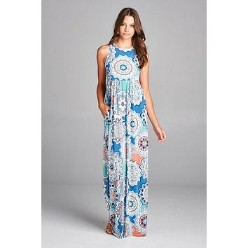 Garden Party Maxi Dress - Patio Print Blue