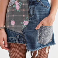 BDG Floral Patchwork Denim Mini Skirt | Urban Outfitters