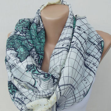 Map Scarf World Map Scarf Shawl Soft Cotton Scarf Loop Scarf Circle Scarf Map Print Scarf Women Scarf Shawl