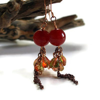 Womens Red Jade Pressed Glass Leaf Cluster Chain Drop Earrings