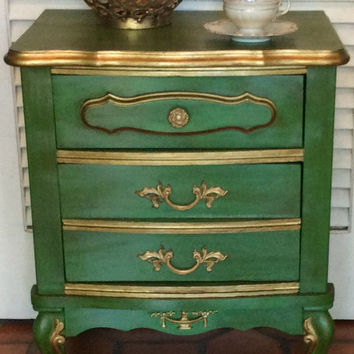 Green Vintage French Style Nightstand 1950s