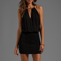 Indah Canoa Blouson Cut Away Smocked Mini Dress in Black from REVOLVEclothing.com