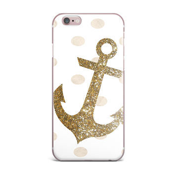 "Nika Martinez ""Glitter Anchor"" Gold Sparkles iPhone Case"