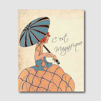 Wall Art - Tally Girl - Art Deco - C'est Magnifique - French Phrase - 8 x 10 - Parasol - Room Decor