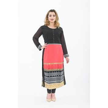 Black Aztec Attack Long Kurti with Leggings