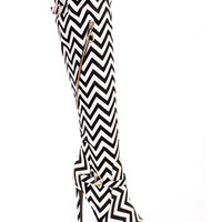 Black White Chevron Pattern High Heel Boots Canvas