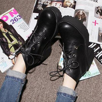 Casual Womens Military Boots Ankle Lace-up Round Toe Black Riding Korean 1mf