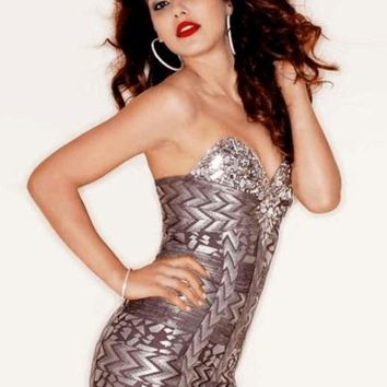 Falling For You Embellished Foil Print Bandage Dress