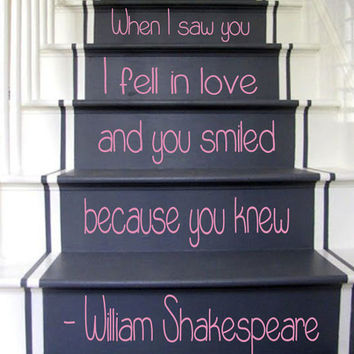 Wall Decals William Shakespeare Quote Staircase Stairway Stairs Words Phrase Home Vinyl Decal Sticker Kids Nursery Baby Room Decor kk481