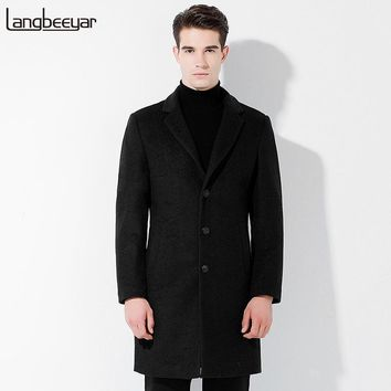 New Fashion Brand Clothing Wool Jacket Men Stand Color Slim Fit Mens Pea Coat Business Casual Wool & Blends Winter Coat Men