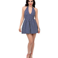 Navy & White Polka Dot Halter Mini Fit & Flare Dress