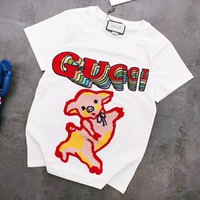 GUCCI New Fashion embroidery Pig Letter Sequin Couple Top T-Shirt White
