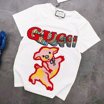 dd21e261 GUCCI New Fashion embroidery Pig Letter Sequin Couple Top T-Shir