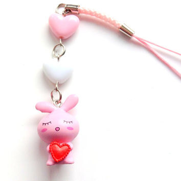 Cute pink bunny cell phone charm, Pastel heart rabbit charm, Fairy Kei, sweet lolita, pink phone strap, cute kawaii phone charm, Anime charm