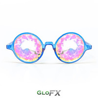 GloFX Transparent Blue Kaleidoscope Glasses – Rainbow Intense Kaleidoscope Effect Durable Plastic Frame Rave Eyewear Discos