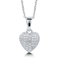 Clear Cubic Zirconia CZ Sterling Silver Puffed Heart Pendant Necklace #n989