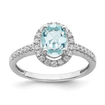 14k White Gold Aquamarine Oval Diamond Halo Engagement Ring
