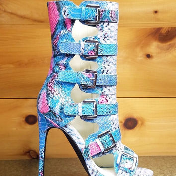 Nelly Lola Blue Multi Color Snake Ankle Boots - 4.75 Heels