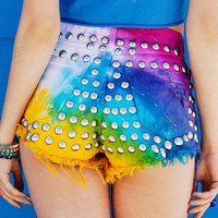820 Technicolor Rainbow Studded Shorts