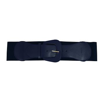 Retro Vintage Chunky Buckle Navy Blue Elastic Wide Stretch Waist Belt