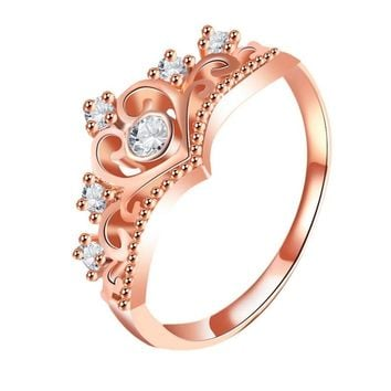 New Arrival Crystal Heart Ring Rose Gold Color Crown Shaped Rings For Women Princess Queen Engagement Jewelry