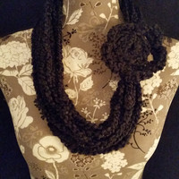 color: Caviar // Black Scarf Necklace, Chunky Necklace, Trendy Winter Scarf, Oversized Plush Winter Scarf, Crochet Jewelry, Black Necklace