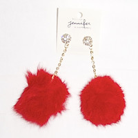 Fur Ball Earrings in Red