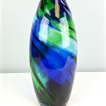 Green Blue Swirl Art Glass Vase Hand Blown, Vintage Art Glass Vase, Large Tall Blown Glass Vase, Cobalt Blue Green Art Glass