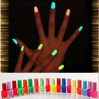 20 Colors Noctilucent Fluorescent Nail Polish Lacquer Noen Glow in Dark 7ml Hot