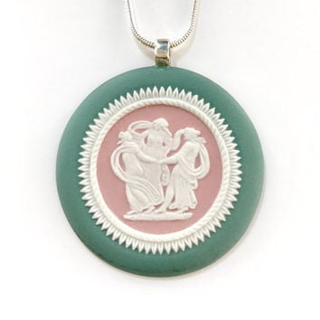 Three Graces Cameo Necklace, Antique Cameo Jewelry, Wedgwood Jasperware, Three Sisters Necklace Gift for Dancer, Dance, Goddess, Pink Green