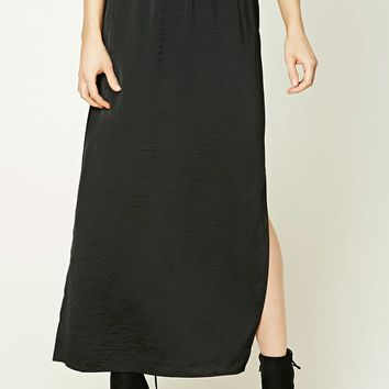 Crinkled Satin Maxi Skirt