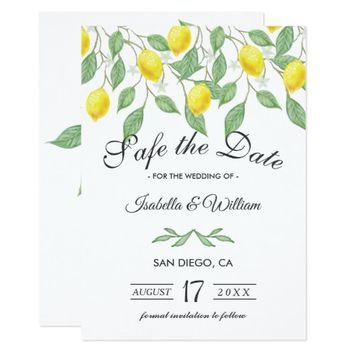 Modern Lemon Summer Save the Date Wedding Card