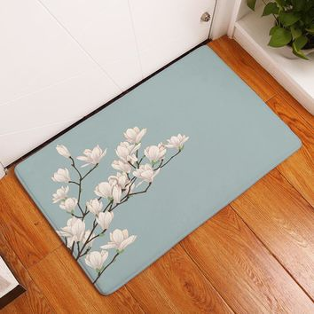 Fashion Style Stripe Flower Print Carpets Anti-slip Floor Mat Outdoor Rugs Creative Beautiful Color Front Door Mats