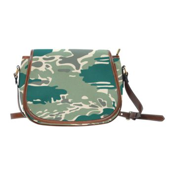 Women Shoulder Bag Woodland Camo Green Saddle Bag Large