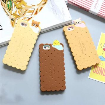Rilakkuma cute cartoon cookies 3d silicon phone case cover for iphone 7 6 6s 6splus 5 5s 8 funny lovely rubber soft gel case