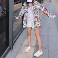 """""""GUCCI"""" Fashion Flowers And Plants Print Thin Hollow Long Sleeve Zip Cardigan Sunscreen Clothes Coat"""