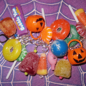 Halloween Charm Bracelet Candy Bracelet Halloween Candy Jewelry Charms Gumdrops Lollipops Sweet Treat Chunky Fun OOAK Loaded Statement Piece