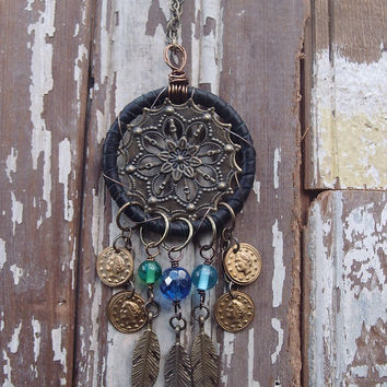 Black Leather Dream Catcher Necklace, Dream Catcher Necklace, Dreamcatcher Necklace, Festival Necklace, Boho Necklace, Mandala Necklace