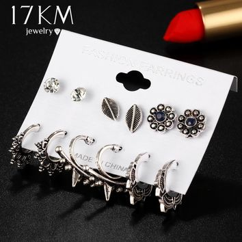 17KM Sector Shaped Hook Stud Earring Brincos 2017 New Leaves Flower Earrings Set For Women Vintage Statement Jewelry 6 Pair/Set
