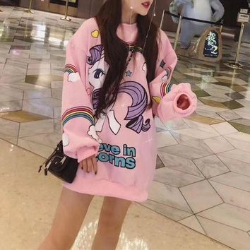 VONE05E Moschino' Women Casual Cute Cartoon Pony Rainbow Letter Pattern Print Loose Long Sleeve Pullover Sweater Tops