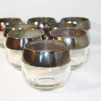 Set of Eight Dorothy Thorpe Style Roly Poly Glasses, Vintage Mod Bar Ware