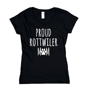 Proud Rottweiler Mom Shirt Rottweiler Dog Breed Puppy V-Neck T-Shirt