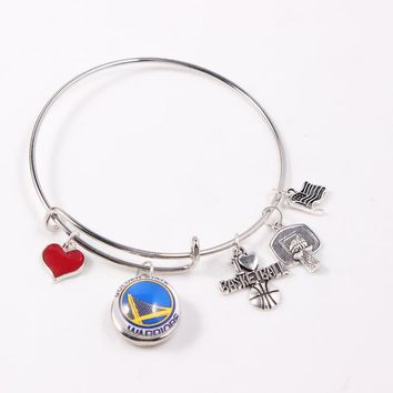 6Pcs/lot Silver Adjustable Expandable Wire Bangles&Bracelets 18mm Golden State Basketball Warriors Snap Button Charms Bracelets