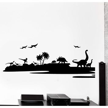 Wall Vinyl Decal Dino Dinosaur Terrain Kids Nursery Home Interior Decor Unique Gift z4441