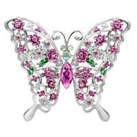 Butterfly With Rose And Crystal Aurore Boreale Rhinestone Crystal Animal Brooches And Pins, Brooches & Pins, Metal Brooches | Pugster.com